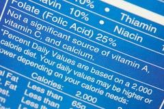 Etiqueta da nutrição Fotos de Stock