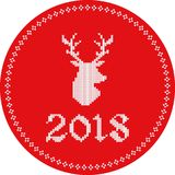 etiqueta 2018 da rena ilustração do vetor