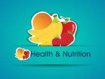 Etiqueta da saúde e da nutrição com alimento biológico. ilustração stock