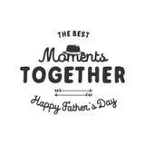 Etiqueta da tipografia do dia de pais Símbolos do feriado - chapéu, âncora e sinal - os melhores momentos junto Vetor conservado  imagem de stock royalty free