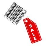 Etiqueta da venda com código de barras Fotografia de Stock