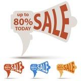 Etiqueta da venda do corte do papel do altifalante ilustração royalty free