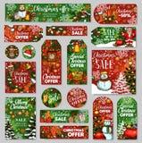 Etiqueta da venda do Natal e etiqueta do presente de feriados do inverno Imagens de Stock