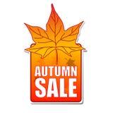 Etiqueta da venda do outono com folha ilustração do vetor