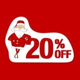 Etiqueta da venda do vetor Santa Claus e 20% fora Imagens de Stock Royalty Free