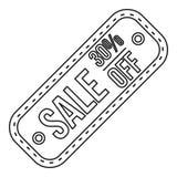 Etiqueta da venda 30 por cento fora do ícone, estilo do esboço ilustração stock