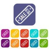 Etiqueta da venda 30 por cento fora dos ícones ajustados Imagens de Stock
