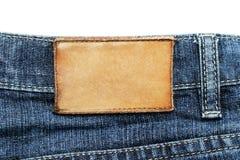 Etiqueta das calças de brim Fotografia de Stock