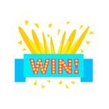 Etiqueta das felicitações da vitória com molde do projeto da fita azul para o final de vencimento do jogo de vídeo ilustração do vetor