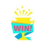 Etiqueta das felicitações da vitória com molde do projeto do copo dourado para o final de vencimento do jogo de vídeo ilustração royalty free