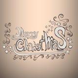 Etiqueta das garatujas do Feliz Natal Fotografia de Stock