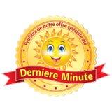 Etiqueta de última hora francesa de la publicidad; Imagen de archivo