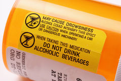 Etiqueta de advertência - álcool Imagem de Stock Royalty Free