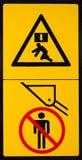 Etiqueta de advertencia 2 del peligro del vehículo Fotos de archivo