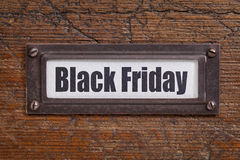 Etiqueta de arquivo de Black Friday Fotos de Stock Royalty Free
