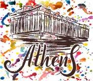 Etiqueta de Atenas con la acrópolis dibujada mano de Atenas, poniendo letras a Atenas en fondo de la acuarela Stock de ilustración