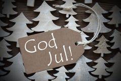 A etiqueta de Brown com deus julho significa o Feliz Natal Fotografia de Stock Royalty Free