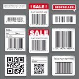 Etiqueta de código de barras e grupo da venda Fotos de Stock