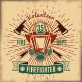 Etiqueta de combate ao fogo do vintage ilustração royalty free