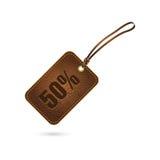 Etiqueta de cuero con descuento Fotos de archivo libres de regalías