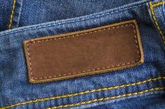 Etiqueta de cuero de los pantalones vaqueros Foto de archivo