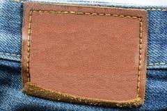 Etiqueta de cuero en blanco de los vaqueros Foto de archivo libre de regalías