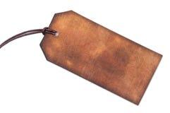 Etiqueta de cuero marrón en blanco Imagen de archivo