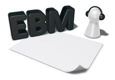 Etiqueta de Ebm, folha vazia do Livro Branco e penhor com fones de ouvido Fotografia de Stock