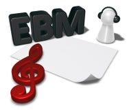 Etiqueta de Ebm, folha vazia do Livro Branco e penhor com fones de ouvido Imagem de Stock