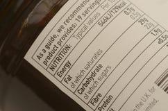 Etiqueta de empaquetado de la nutrición del tarro de la salmuera Foto de archivo