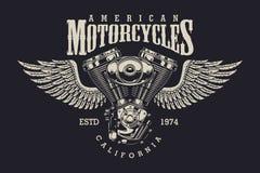 Etiqueta de encargo de la motocicleta del vintage Imagenes de archivo