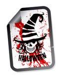 Etiqueta de Halloween com o crânio no chapéu Foto de Stock Royalty Free