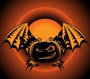 Etiqueta de Halloween con las alas de la calabaza ilustración del vector