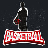 Etiqueta de intervalo mínimo do vintage do basquetebol ilustração do vetor