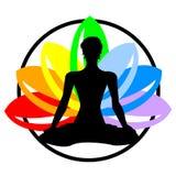 Etiqueta de la acuarela del arco iris del vector con la silueta de la mujer foto de archivo libre de regalías