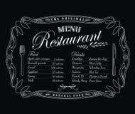 Etiqueta de la antigüedad del marco del vintage de la pizarra del menú del restaurante ilustración del vector