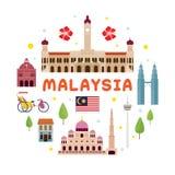 Etiqueta de la atracción del viaje de Malasia fotos de archivo libres de regalías
