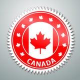 Etiqueta de la bandera de Canadá Imagenes de archivo