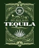 Etiqueta de la botella del vector de la bebida del tequila del alcohol del vintage libre illustration