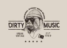 Etiqueta de la calle para el diseño de la camiseta con el gorila Foto de archivo