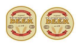 Etiqueta de la cerveza del vector y plantilla de la estera de la cerveza ilustración del vector