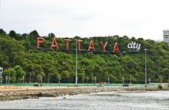 Etiqueta de la ciudad de Pattaya en Tailandia Fotos de archivo libres de regalías