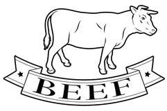 Etiqueta de la comida de la carne de vaca Fotos de archivo libres de regalías