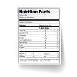 Etiqueta de la comida de los hechos de la nutrición Imágenes de archivo libres de regalías