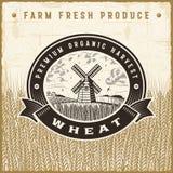 Etiqueta de la cosecha del trigo del vintage ilustración del vector