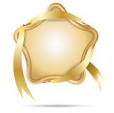 Etiqueta de la estrella con la cinta Fotografía de archivo libre de regalías