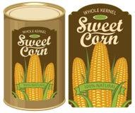 Etiqueta de la lata para el maíz dulce conservado con las mazorcas Imagenes de archivo