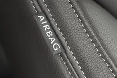 Etiqueta de la materia textil del saco hinchable Fotos de archivo libres de regalías