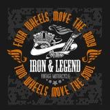 Etiqueta de la motocicleta, insignia y elementos retros del diseño stock de ilustración