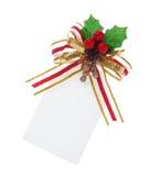 Etiqueta de la Navidad atada con el camino de recortes Imágenes de archivo libres de regalías